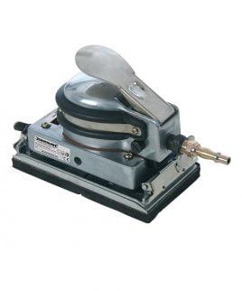 Pneumatische Excentrische Vlakschuurmachine Silverline. De schuurmachine bestaat uit een gietaluminium frame met een rubberen handvat.